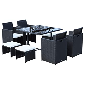 Ensemble Salon de Jardin encastrable 8 Places 4 fauteuils ...