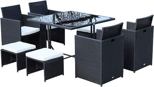 Conjunto de muebles de jardín encajables 8 plazas, 4 sillones monobloque, 4 taburetes, cojines extraíbles, mesa plana de vidrio templado y resina trenzada de 4 hilos, negro y blanco 05: Amazon.es: Jardín