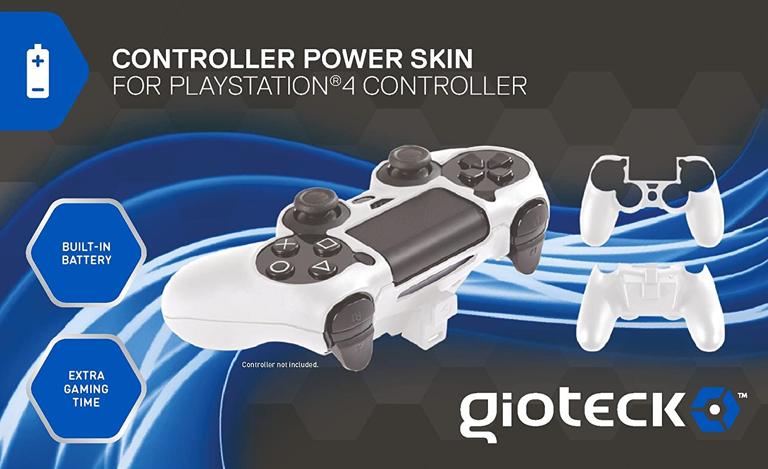 Gioteck - Controller Power Skin, Batería Incorporada, Color Blanco (PlayStation 4): Amazon.es: Videojuegos
