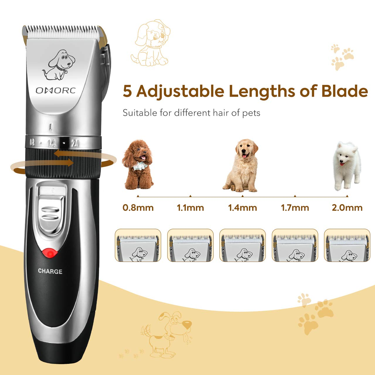 OMORC Dog Clippers Cordless Adjustable Pet Clippers Dog Hair Trimmer Rechargeable Cat Shaver Pet Grooming Professional Low Noise Dog Grooming kit with 8 Kinds Tools by OMORC (Image #6)