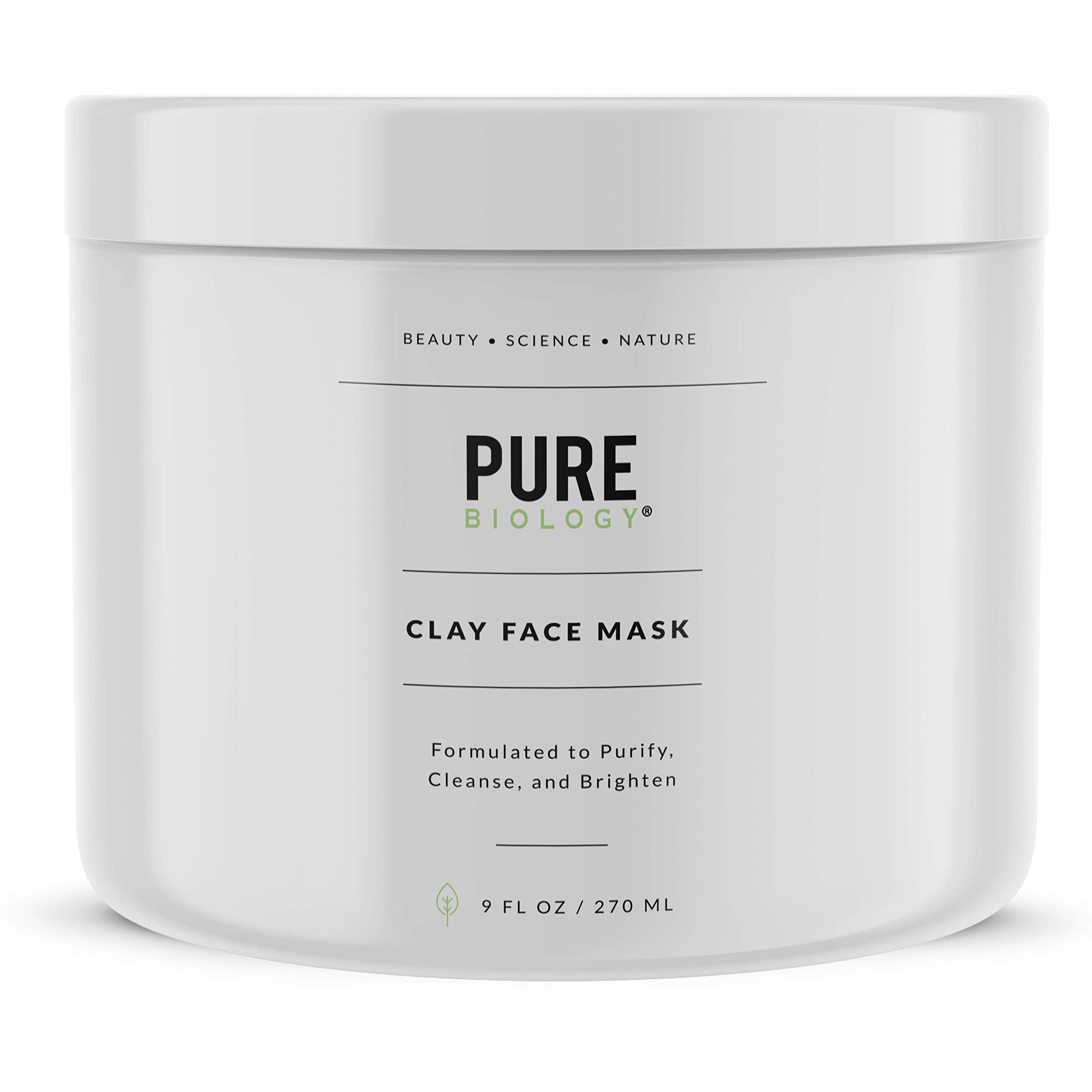 Premium Face Mask - Bentonite Clay, Retinol, Collagen Peptides, Kaolin, Vitamins B, C, E - Cleanse, Smooth & Minimize Deep Pores, Dark Spots, Blackheads & Acne Scars - Men & Women, All Skin Types by Pure Biology
