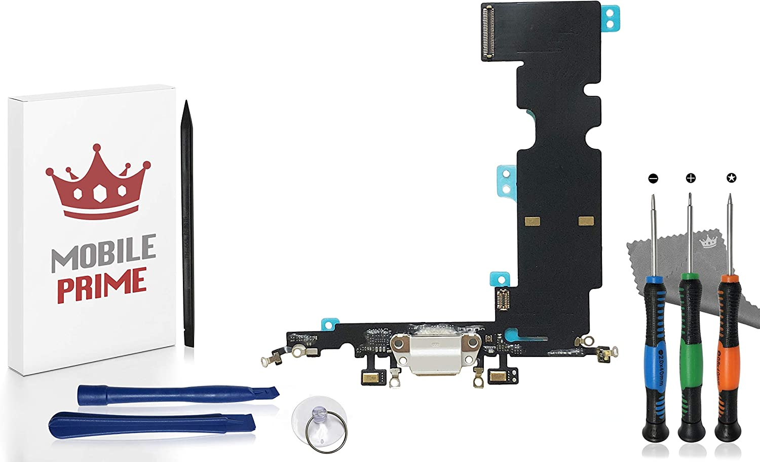 MobilePrime White Charging Port Replacement Kit Compatible for iPhone 8 Plus Including Pro-Series Repair Tools