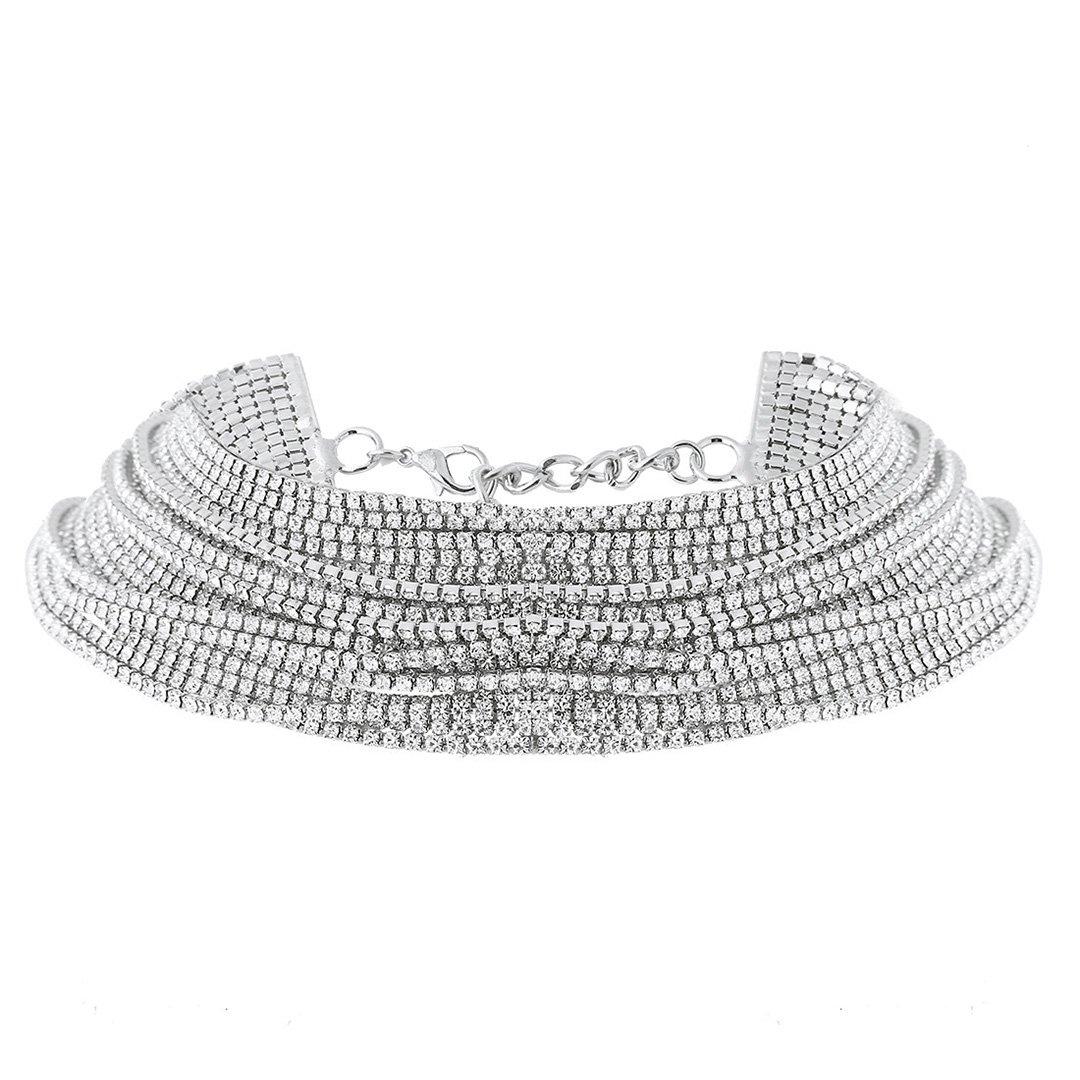 Gabrine Womens Girls Multilayer Collar Choker Short Necklace Fashion Shiny Rhinestone for Wedding Party or Prom(Silver)