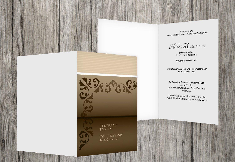Tarjeta de luto Papel de carta, beige, 40 Karten