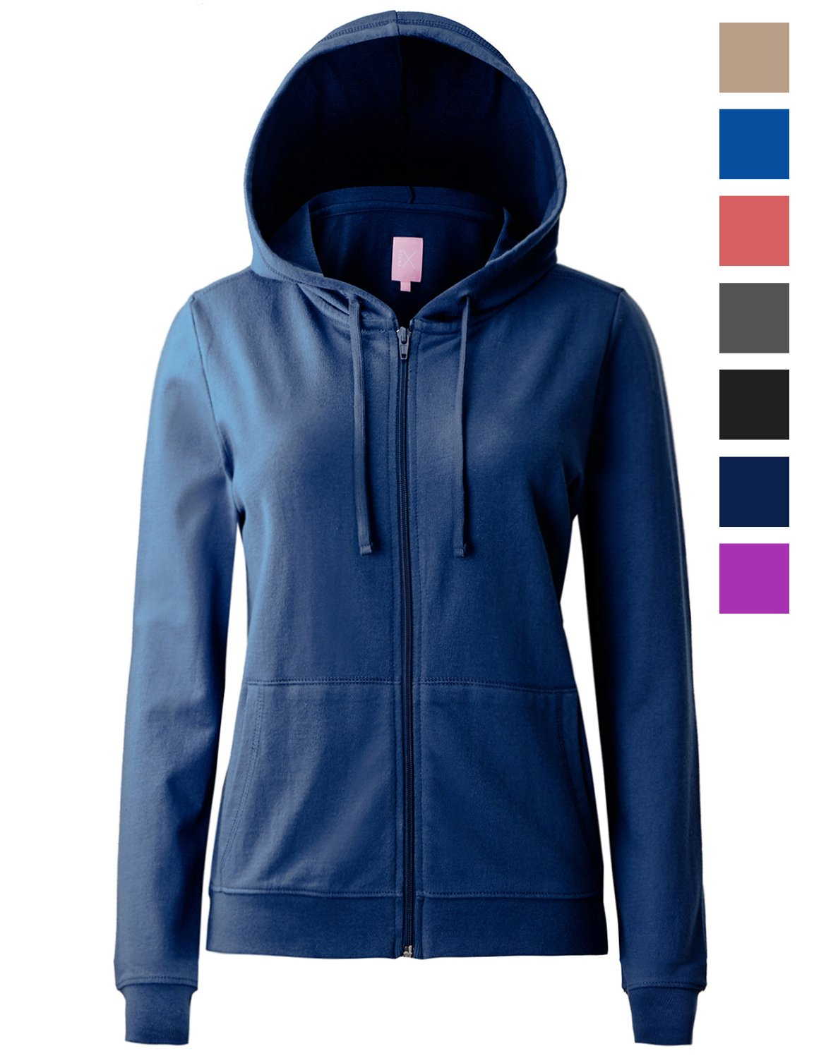 Regna X Women's Long Sleeve Casual Loose Pullover Zip up Hoodie Jacket Navy L