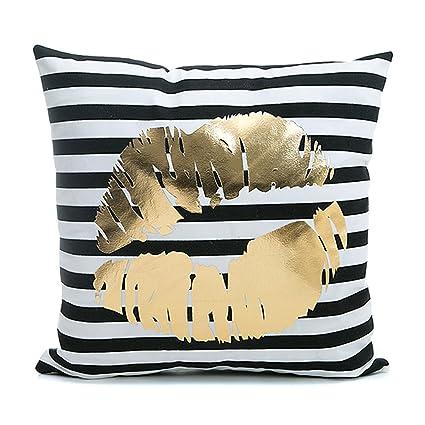 Kingla Home Home Sofa Pillowcases Black Striped Gold Lips 18u0026quot; X  18u0026quot; Decorative Soft