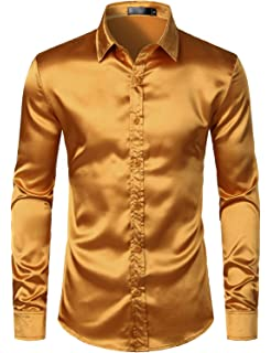 Generic Mens Solid Long Sleeve Satin Silk Like Slim Fit Button Front Shirts