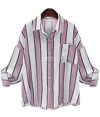 c32a67a8144063 ten is heart Long Sleeve Blouse Shirts Striped Women Cute Tops Big  Silhouette (Small,