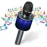Nubeter Karaoke Microfono Senza Fili ,Microfono Wireless Karaoke Portatile Bluetooth , Altoparlanti doppicon luci colorate a LED per Festa, KTV, Casa, altoparlante per PC / Telefono, Android / IOS (2018 Ultimi modelli Grigio scuro)