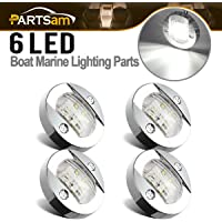 Partsam 4 Pcs 3 Inch Round Chrome Marine LED Transom Mount Stern Anchor  Navigation Light IP67