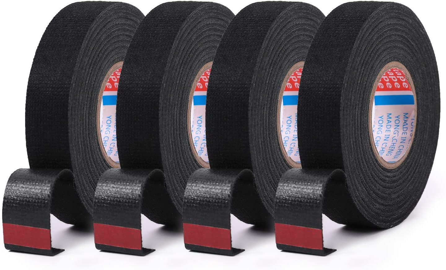 HSTECH Wire Harness Tape, 3/4-Inch by 50-Foot (4 Pack), Speaker Wiring Harness Cloth Tape, Black Adhesive Fabric Tape, for Automobile Electrical Wire harnessing Noise Dampening Heat Proof