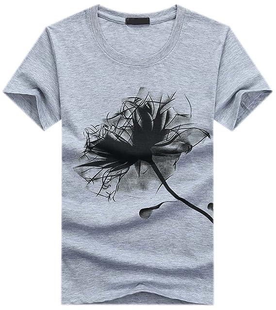 Camisetas Manga Corta Hombre Estampadas Flores Camiseta T Shirts Verano Camisas Slim Fit Casual Blusas para Hombre T-Shirt Cuello Redondo Tops Blusa Spring ...