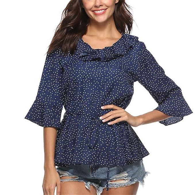 Camisa de la Blusa de la Manga de la Llamarada del Cuello con Volantes Camisa de la Moda de Las Señoras de Verano de la Media Manga Blusas Elegantes Tops: ...
