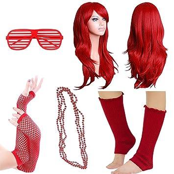 iLoveCos 80s Fancy Dress Outfit Accesorios de Disfraz para Fiestas Rojo Pelucas Largas Gafas de Sol