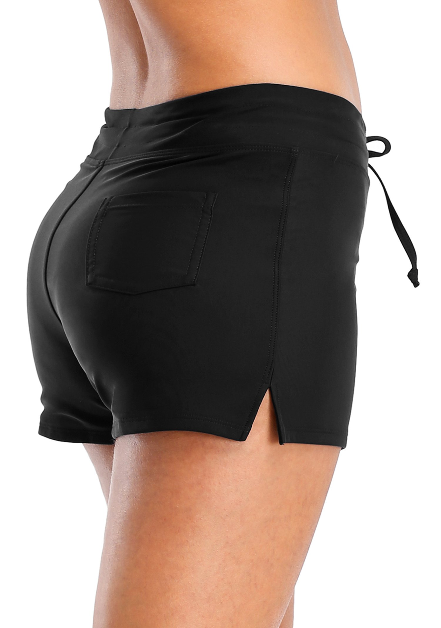 Vegatos Womens Solid Boardshorts Swimming Shorts Swim Bottoms Surfing Boyshorts Black by Vegatos (Image #6)