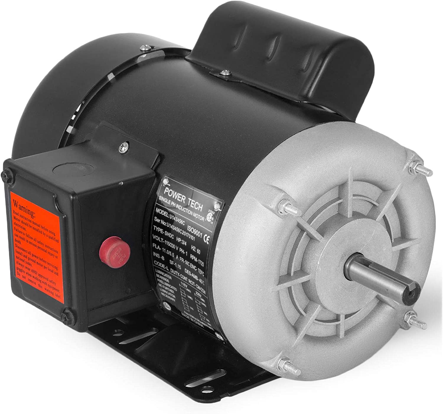 Mophorn 0.75 Hp Electric Motor Rated Speed 1725 RPM Single Phase Motor AC 115V 230V Air Compressor Motor 56C Frame Suit for Agricultural Machinery and General Equipment