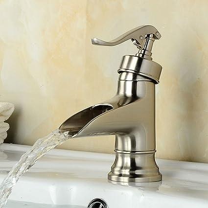Beau Satin Nickel Water Pump Waterfall Spout Bathroom Basin Faucet Nickel  Brushed Brass Vanity Vessel Sink Mixer