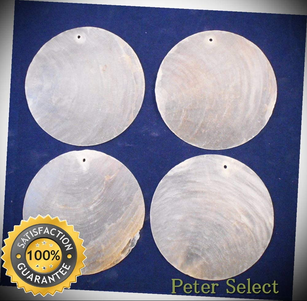 """50 Capiz Shells White Round 3"""" (76mm) One Hole Crafts Windchimes Shellcraft - for Wedding Decor, Home Decor and Craft Project"""