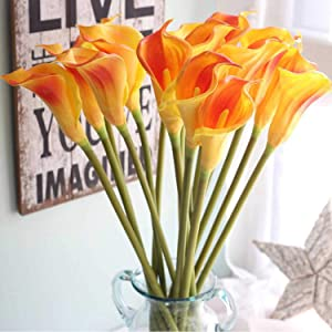 "Lily Garden 26"" Artificial Calla Lily Real Touch Stem Flower Bouquets (6, Orange)"