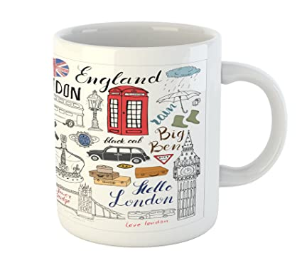 Ambesonne BenPrinted Mug Crown Ceramic Cab Big MugI United Double Bus Coffee Love London Kingdom Booth Telephone Drinks Decker Of Tea Doodle Water E2ebHW9YDI