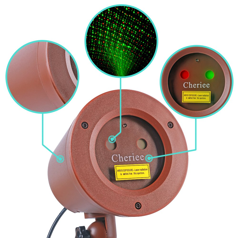 Cheriee Laser Christmas Lights Outdoor Motion Laser Light Star Projector Waterproof Red & Green Star Laser Show For Garden and Holiday Decoration
