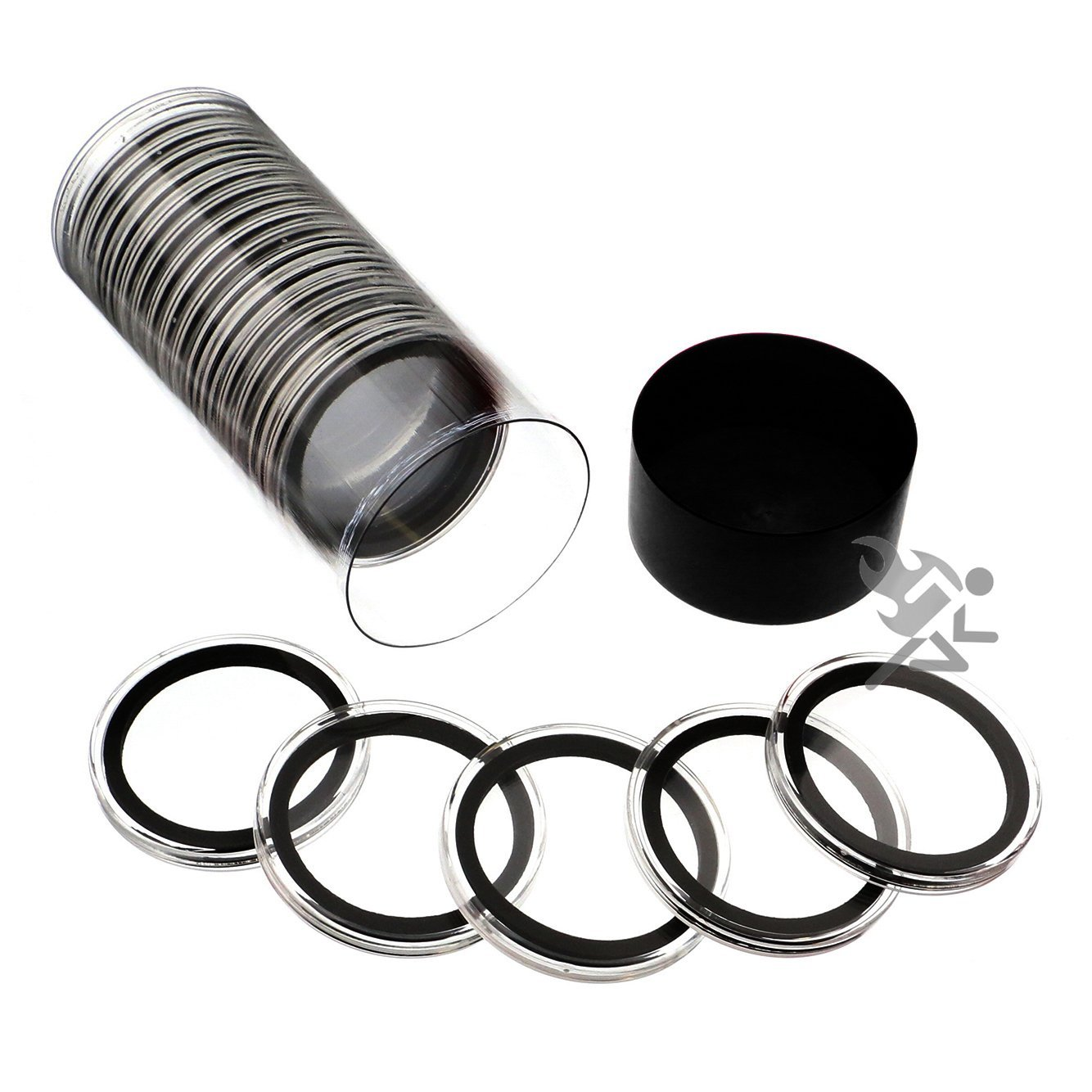 Black Lid Capsule Tube /& 20 Air-Tite 40mm Black Ring Coin Holders for 1oz Silver Eagles