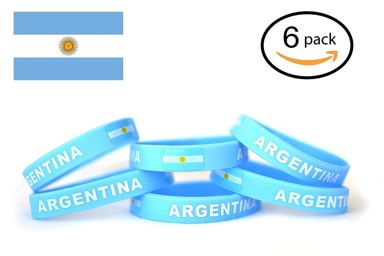 ロシアFIFA World Cup 2018サッカー、フラグシリコンブレスレット| 6点セット| 12国使用可能|ユニセックスデザイン、柔らかく、耐久性、非毒性、低刺激性 B07B482SDZ  アルゼンチン(Argentina)