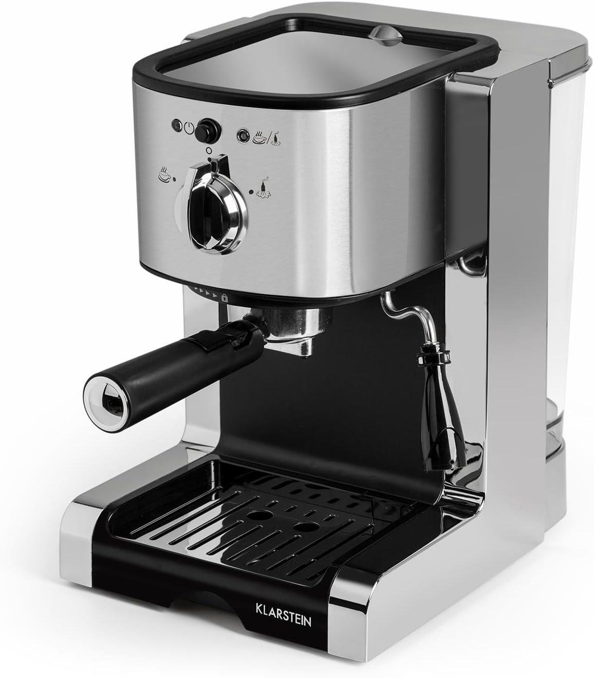 Klarstein Passionata 20 Máquina de café espresso - Cappuccino, Capacidad para 6 tazas, Depósito extraíble, Boquilla de vapor, Espumadora de leche, Acero inoxidable, Plateado