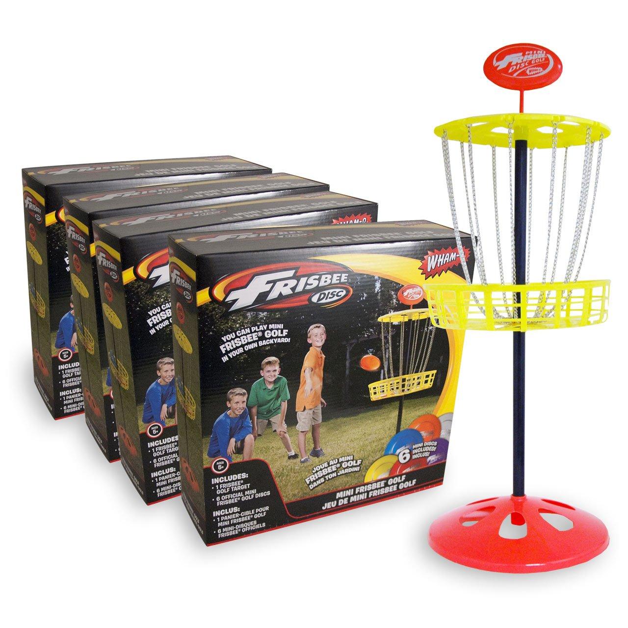 Wham-O Mini Disc Golf Basket 4 Pack With Mini Frisbees
