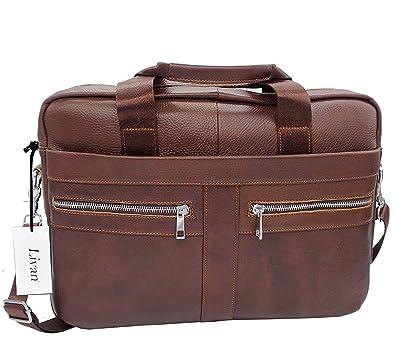 f084b5cbe8 LIVAN® -L0039 Serviette Sacoche cartable porte document Bandoulière en cuir  vachette Homme (marron