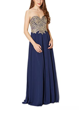 New Vogue Womens Sexy Long chiffon colorsembroidery applique Evening Prom Dress