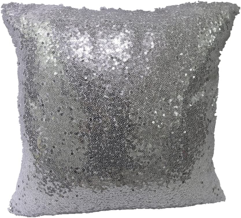 TRLYC 14x14 Inch Home Decor Solid Sequin Pillow Cover Glitter Sequin Pillow Case-Silver