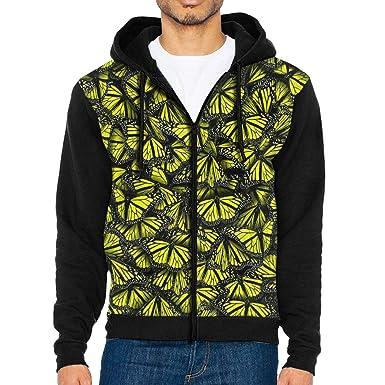 HEHE TAN Mens Pullover Hood Yellow Butterfly Patterns Zip Hoodies Hooded Popular Jackets Coats