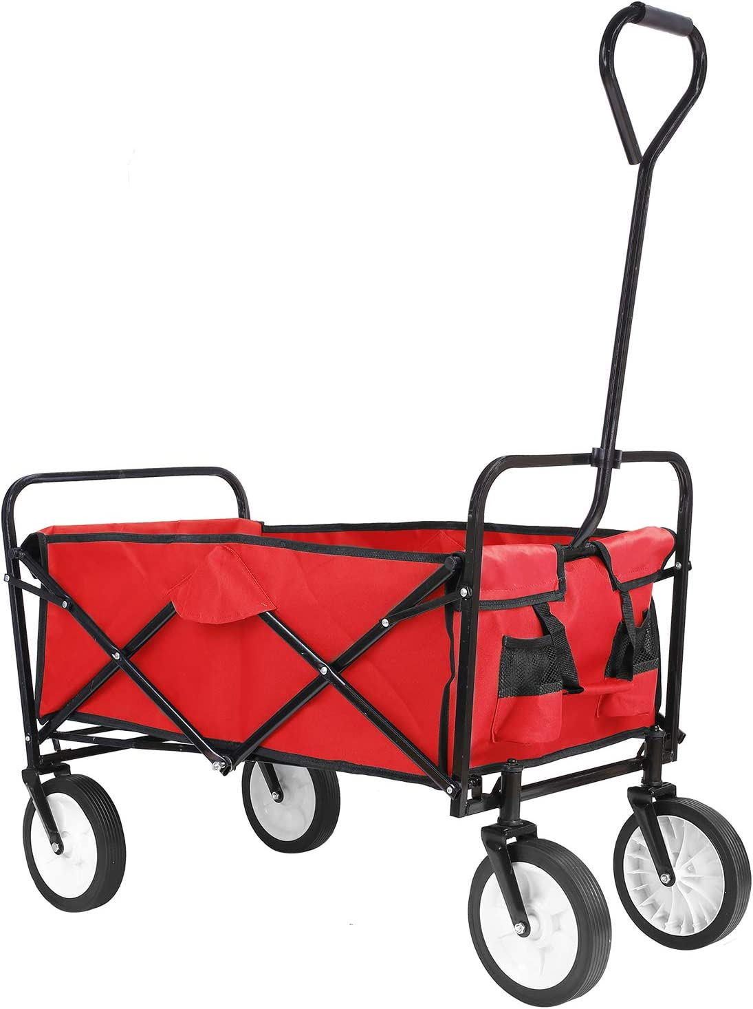 Collapsible Outdoor Utility Wagon, Heavy Duty Folding Garden Portable Hand Cart, with 8 Rubber Wheels and Drink Holder, Suit for Shopping and Park Picnic, Beach Trip and Camping Red