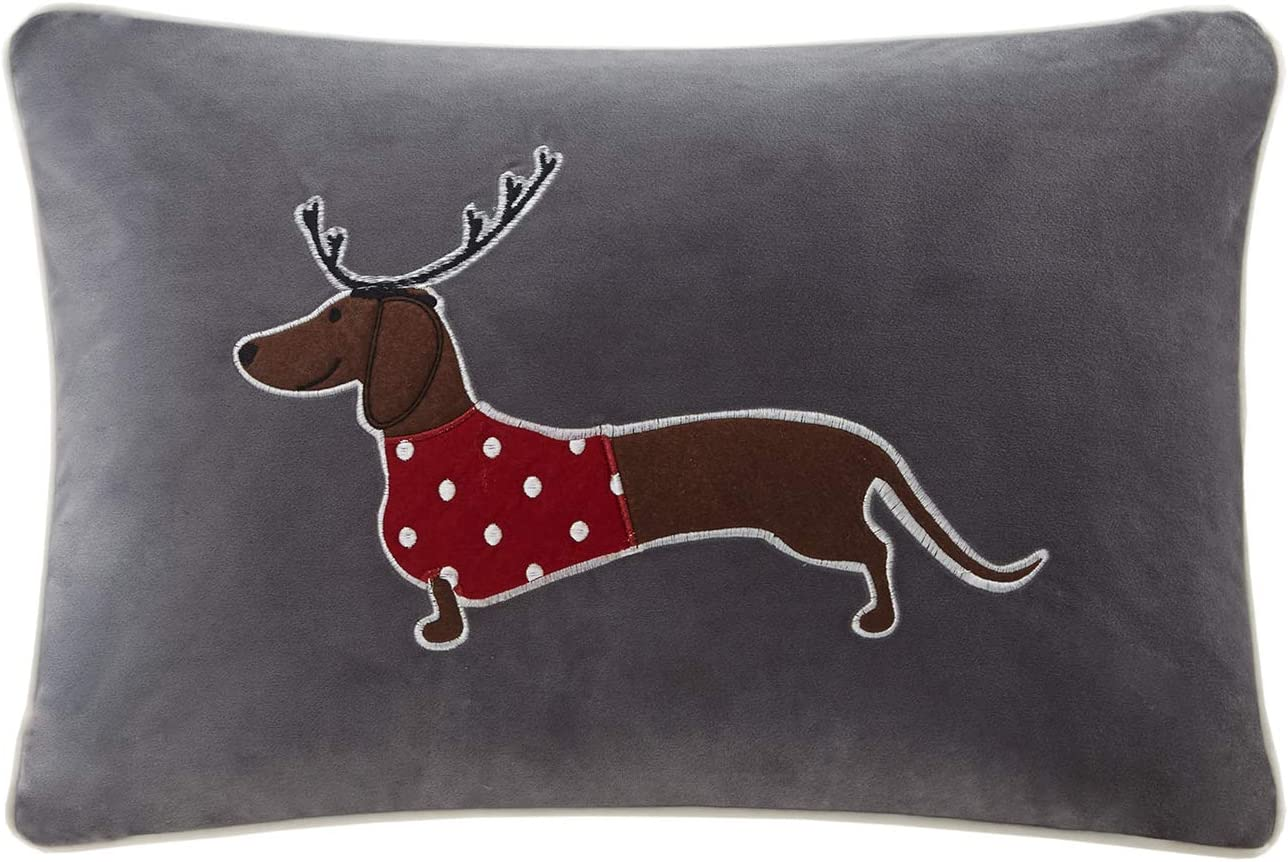 Madison Park Holiday Theme Decorative Throw Square Oblong Pillow with 100% Polyester Filling for Bed Couch or Sofa, 14x20, Sleigh Dog