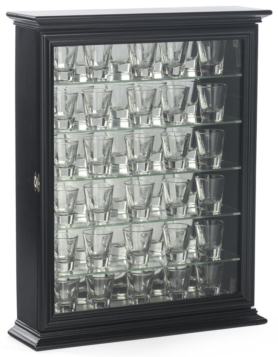 Displays2go Shot Glass Display Wooden Case with Glass Door, Black