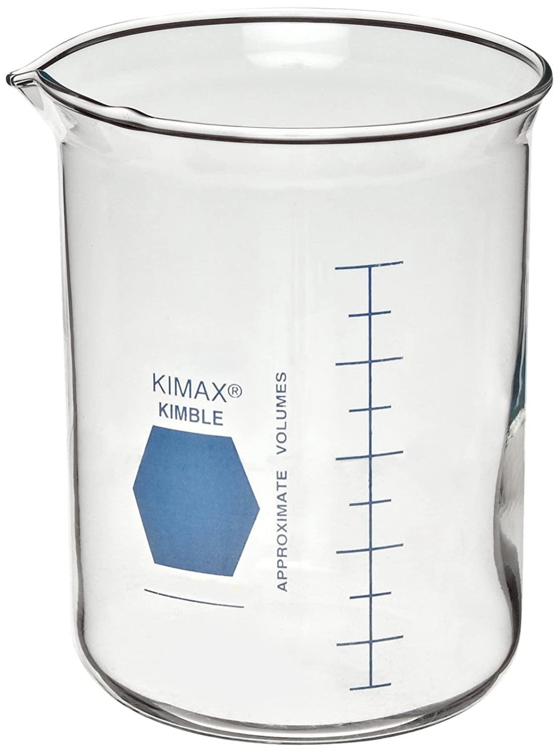 Kimax KG-33 borosilicate glass Griffin low-form beaker with blue double-scale graduations Kimble Chase