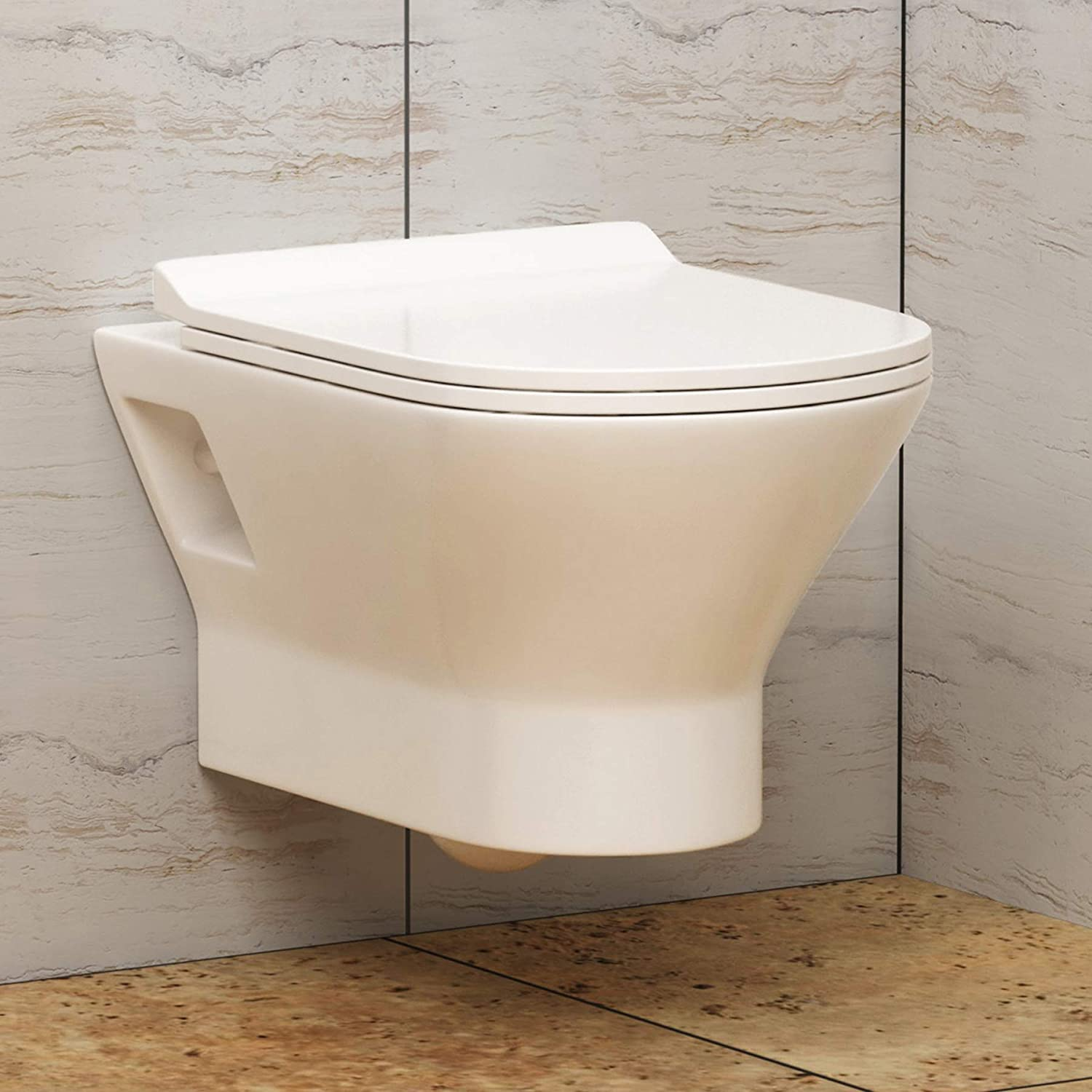 Bathroom Modern Rimless Short Projection Wall Hung Toilet 360mm with Soft Close Slim Seat
