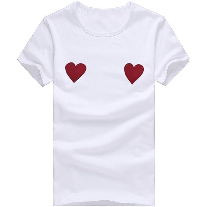 Cinnamou Camisa de Manga Corta para Mujer, Amor Corazon Estampada Tops para Mujer de Verano