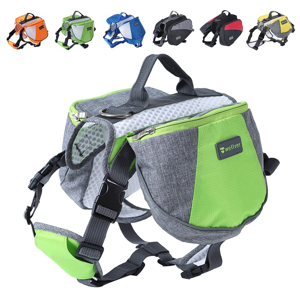 Wellver Dog Backpack Saddle Bag Travel Packs for Hiking Walking Camping,Medium by Wellver