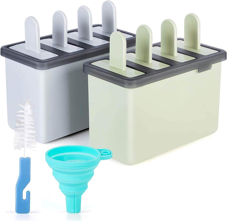 EIS am Stiel f/ür Kinder und Erwachsene InnoGear Eisformen Set 8 Popsicle Formen mit Reinigungsb/ürste und Silikon-Falttrichter