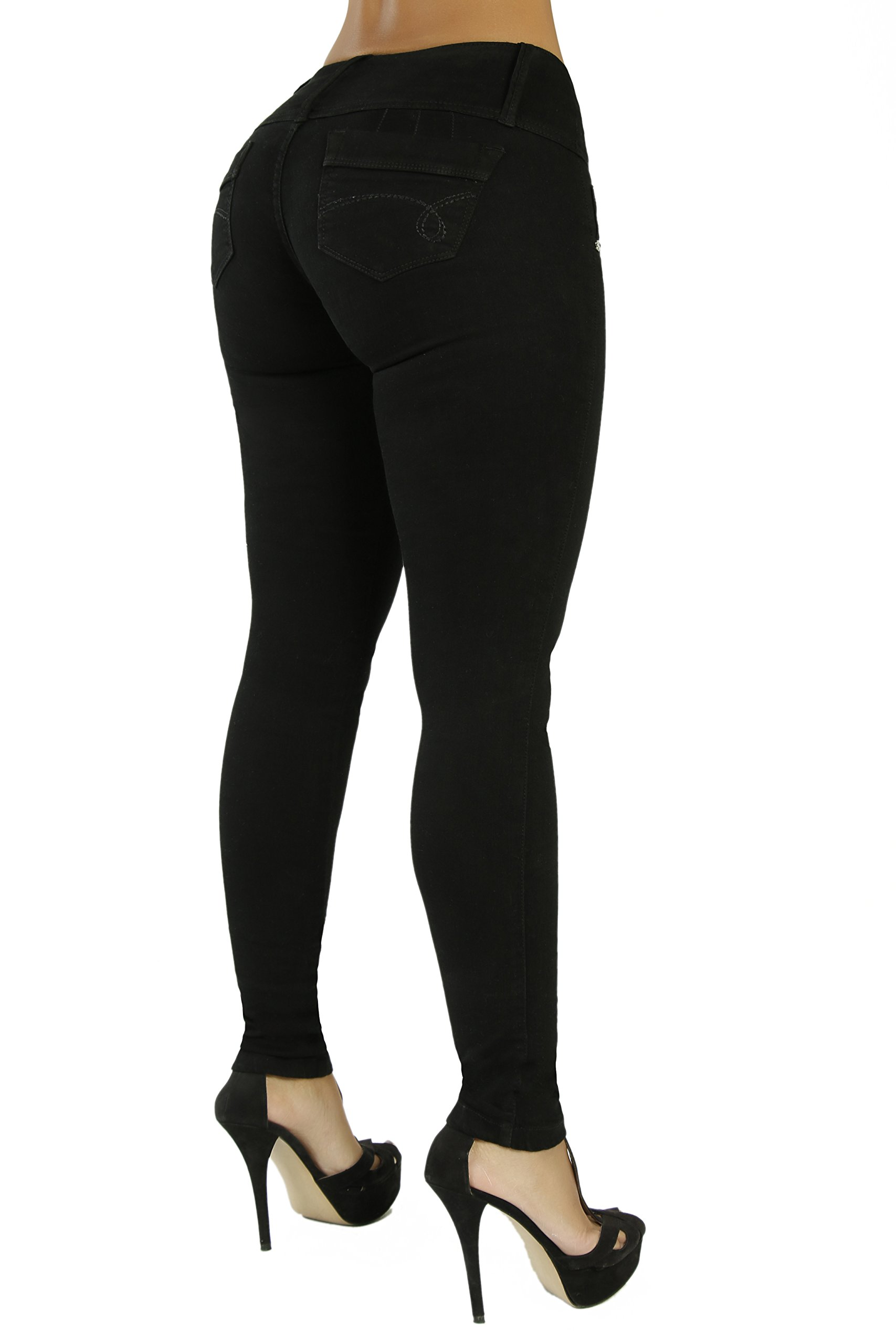 Curvify High Waisted Butt Lifting Slimming Jeans for Women - Skinny Stretch Jean 766(766, Black, 7) by Curvify (Image #2)
