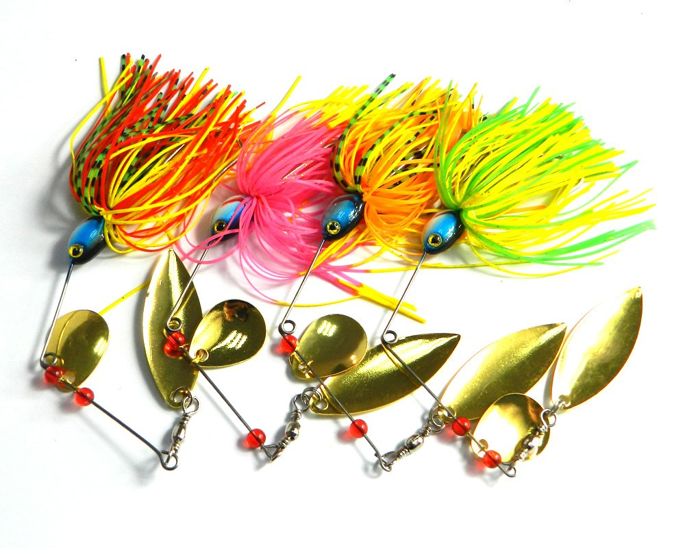 Hengjia 8pcs/lot Spinnerbait/buzzbait Fishing Lure Spinner Baits Kit with Custom Hand Holographic Painted Blades 17g