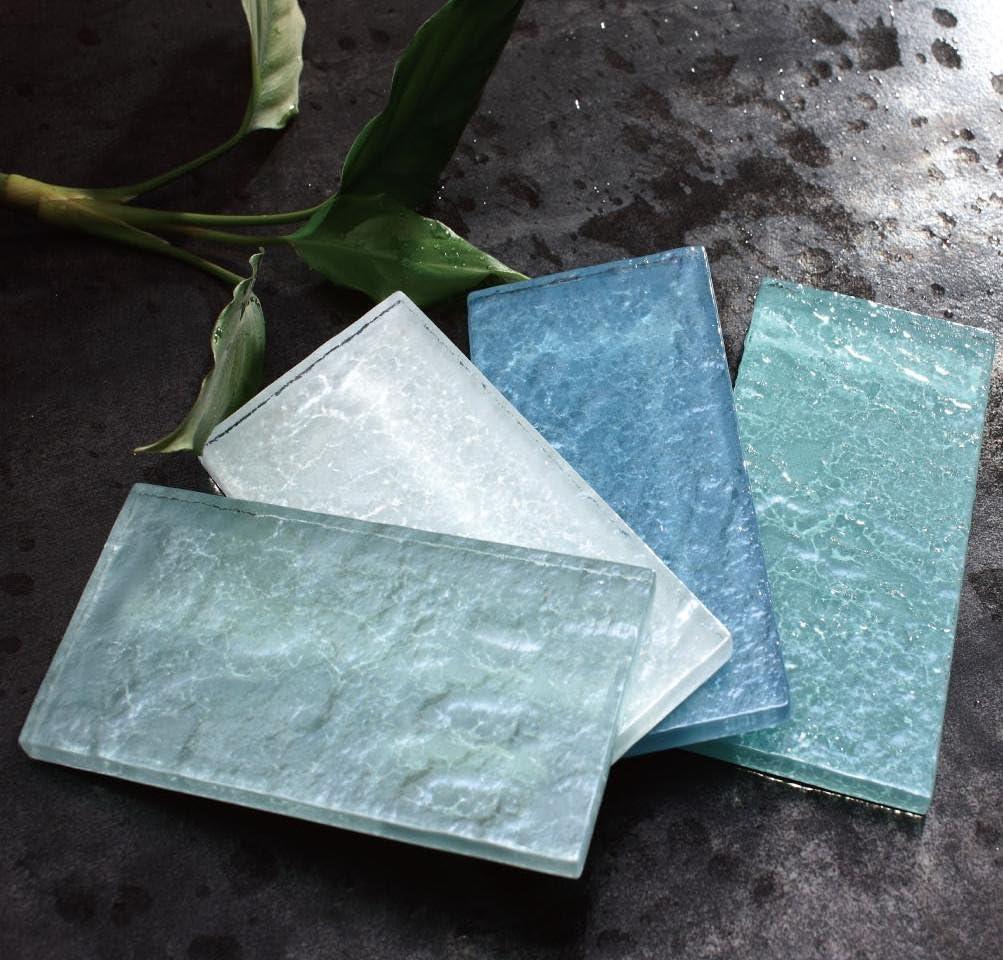 THDG-17 Light Blue 3x6 Glass Mosaic Subway Tile Backsplash 1pc Sample