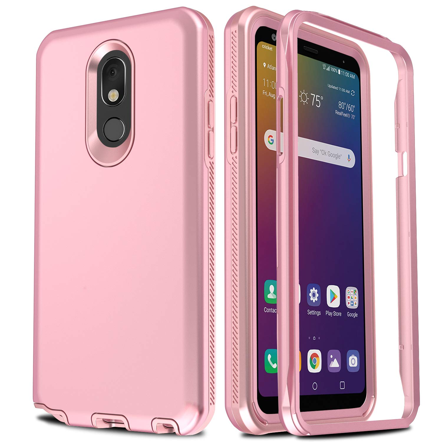 AMENQ Case for LG Stylo 5, LG Stylo 5V Phone Case, Three Layer Full Body Heavy Duty with TPU Bumper and Rugged PC Armor Protective Cover for LG Phone 2019 (Rose Gold)