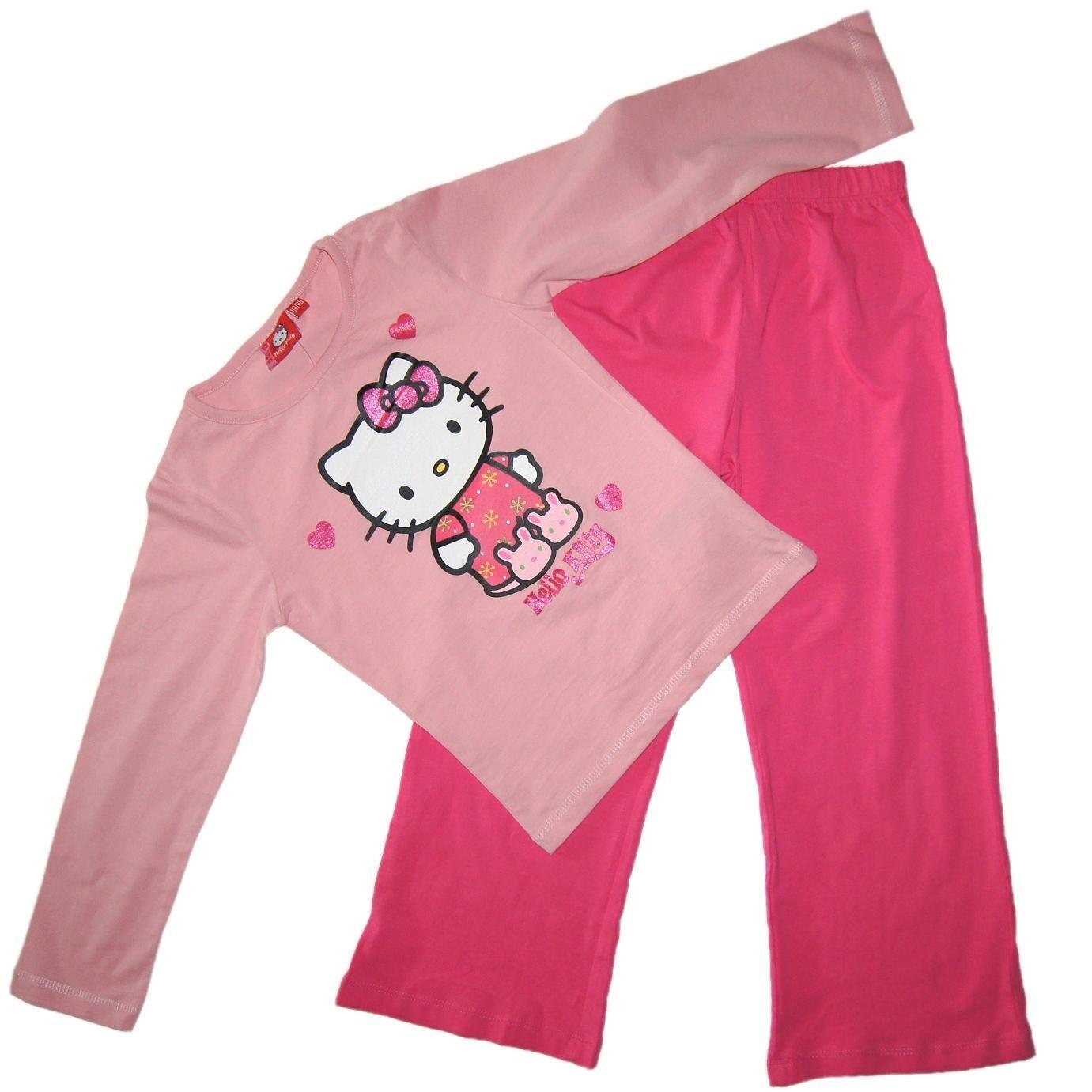 NEU Kinder Bio-Schlafanzug Pyjama HELLO KITTY, hergestellt mit 100 % Baumwolle aus biologischem Anbau, Größe nach Körperlänge in cm:122/128