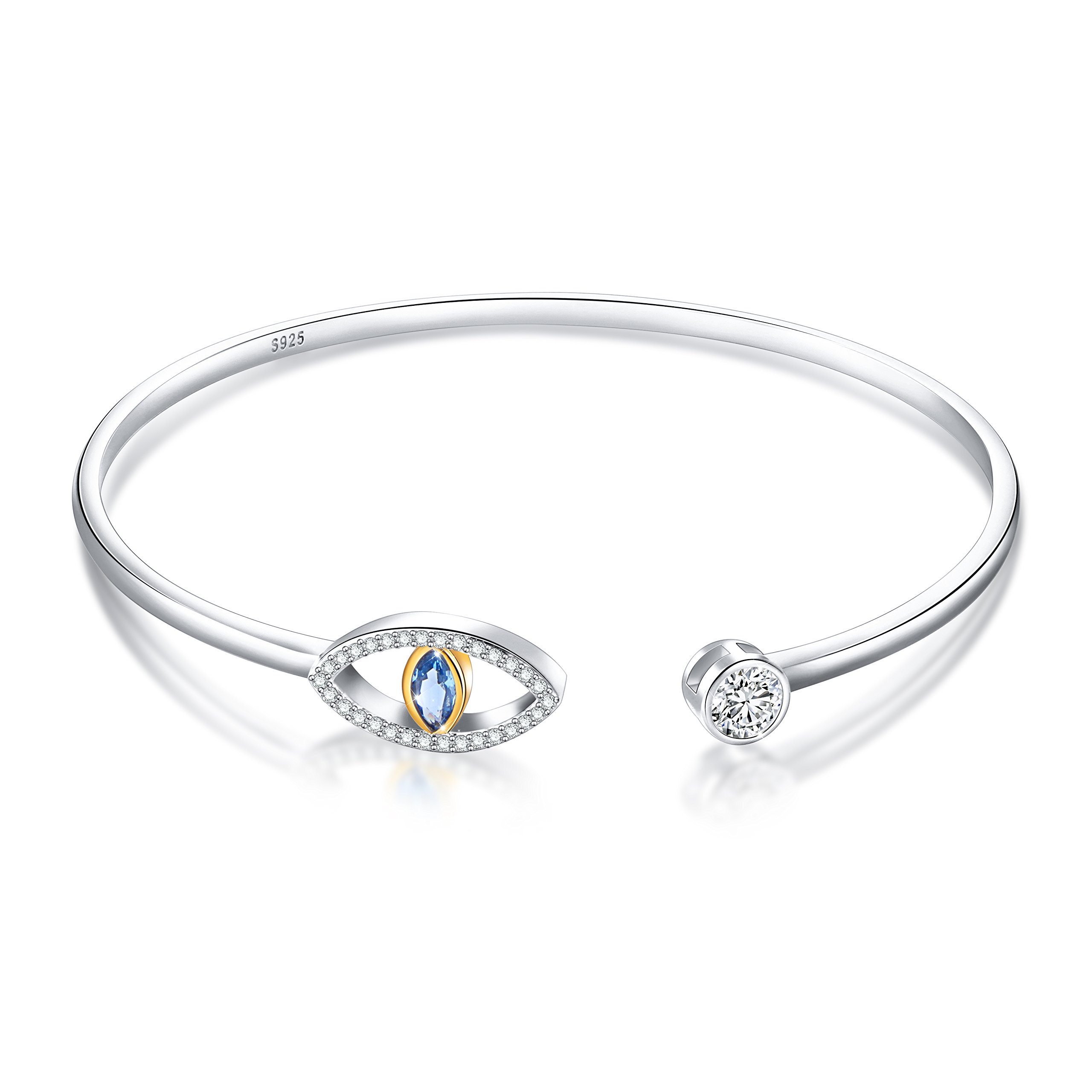 SILVER MOUNTAIN 925 Sterling Silver Pave Evil Eye Double End Cuff Bangle Bracelet for Women