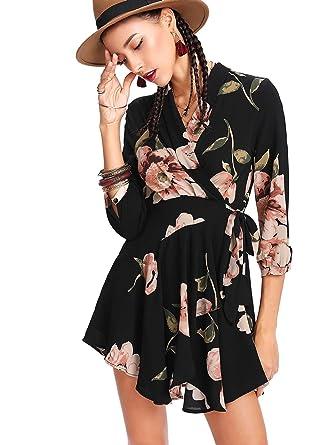 Bestellung verschiedene Arten von zeitloses Design DIDK Damen Sommerkleid mit Blumenmuster Gürtelband Kurz Wickel Boho Kleider
