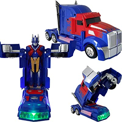 Battery Operated Bump and Go Transforming Toys for Kids -Auto Transforming Auto Robots Action Figure and Toy Vehicles - Realistic Engine Sounds & Beautiful Flash Lights (Blue Sports Truck): Toys & Games