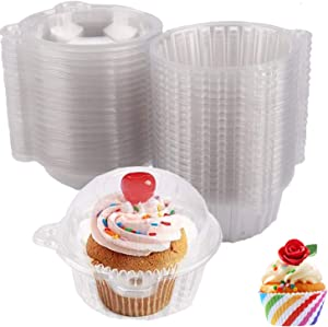 Individual Cupcake Containers Plastic Disposable - Upgrade Single Compartment Cupcake Carrier, Stackable BPA-Free Clear Cupcake Holder Box with Deep Dome Cupcake Boxes for Wedding, Party (Pack 100)